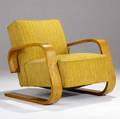 Alvar aalto tank chair upholsterd in boucle fabric on cantilevered laminated birch frame 29 x 29 14 x 34