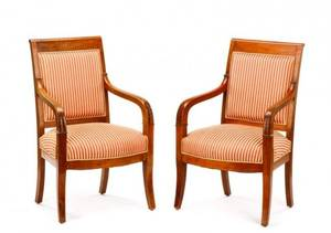 Pair of French Empire Open Armchair Fauteuils