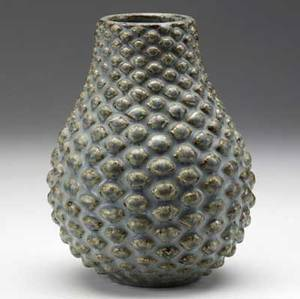 Axel salto budding stoneware vessel covered in light blue and umber matte glaze incised salto 8 x 5 34 dia