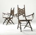 Alberto marconetti pair of wood and iron armchairs with woven leather seats and backs provenance juan montoya collection 38 12 x 27 x 21