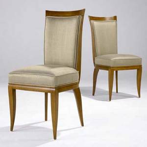 Modern pair of oak side chairs with ribbed fabric upholstery 38 14 x 18 12 x 17 34