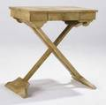 Decorative folding table in parchmentcovered oak with single side drawer and xshaped base 30 x 27 12 x 17 34