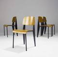 Jean prouve set of four standard chairs with enameled steel frames and bent plywood seats and backs 32 14 x 16 14 x 18