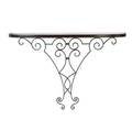 Style of jean royere wallhung console with parquet top and scrolled iron frame 36 x 56 x 14 14