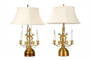 Pair of French Empire Style Gilt Bronze Lamps
