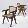 Pierre jeanneret pair of teak armchairs from chandigarh with woven cane seat and back and fabricupholstered seat pads not shown 32 14 x 19 12 x 18 14