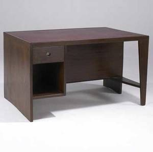 Pierre jeanneret rare singlepedestal desk with burgundy leather inset to top and open cubicles to back 28 14 x 48 x 33