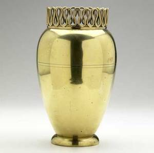 Osvaldo borsani brass over copper vase with applied loop rim and two incised lines to body 11 12 x 6 14