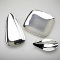 Reed  barton three silverplated footed dishes not designed by alexander calder each marked reed  barton two with foil labels square dish also marked 1142 embassy bullet shaped dish 87 sm