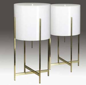 Paul mayen  habitat pair of polished brass and enameled metal table lamps with white acrylic cylindrical shades 1970s 25 14 x 12 34