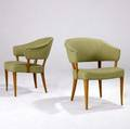 Carl malmsten pair of danish armchairs with green wool upholstery 29 x 23 x 23