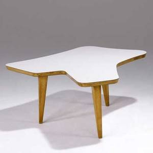 Jens risom customdesigned freeform coffee table with white laminate top on maple base ca 1948 early jens risom paper label 16 x 41 14 x 40