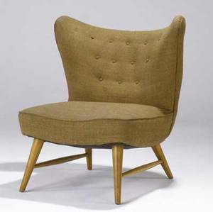 Elias svedberg  knoll associates wingback chair with original wool upholstery on flaring birch legs ca 1948 34 34 x 28 12 x 28