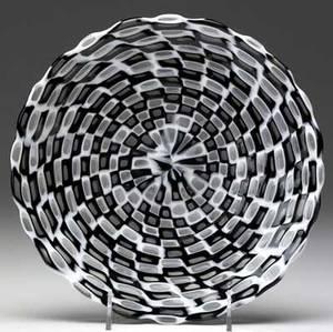 Tobia scarpa  venini occhi glass plate with black and white murrines 1 12 x 9 34