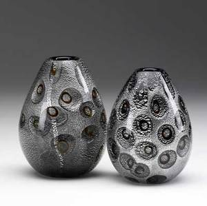Guilo radi  avem attr pair of pear shaped glass vases with amber and silver foil decoration each approx 5 14 x 4 dia
