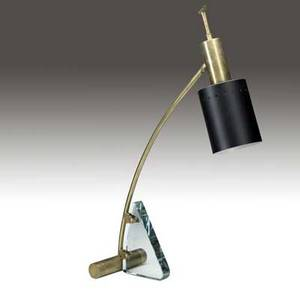 Italian possibly fontana arte desk lamp in brass glass and enameled metal with adjustable shade as shown approx 25 x 7 x 7 12