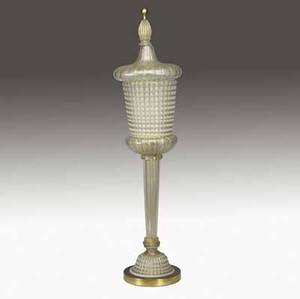 Barovier  toso tall lanternshaped segmentati glass ribbed and fluted table lamp with gold foil inclusions 39 12 x 9 12
