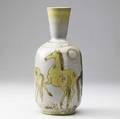 Gambone tall bottleshaped vase with horses in yellow and lavender on an oatmeal ground signed with green donkey mark and italy 12 14 x 5 12