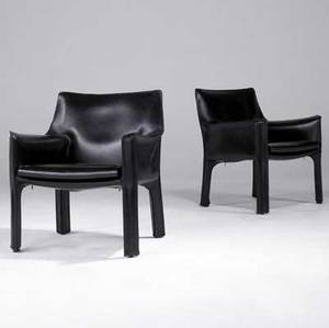 Mario bellini  cassina pair of cab lounge chairs with stitched black leather upholstery cassina paper labels 31 x 26 12 x 22
