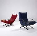 Osvaldo borsani  tecno pair of adjustable lounge chairs with fabric upholstery on metal bases 36 12 x 28 x 32 12