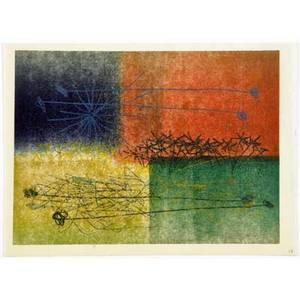 Harry bertoia american 19151978 early monoprint in colored inks on rice paper ca 1942 this print is from the graphic poem series bertoia produced while at cranbrook numbered 14 in pencil lo