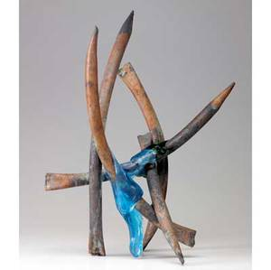 Claire falkenstein fusion sculpture of welded copper and fused venetian glass 23 x 15 x 9 34
