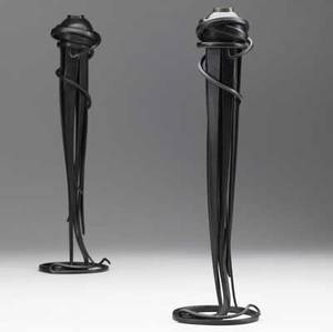 Albert paley pair of candlesticks in formed and fabricated steel 1993 stamped albert paley 1993 14 34 x 4 14