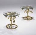 Arthur court attr pair of sculptural floral side tables with gilded metal bases and plate glass tops 17 x 19 dia