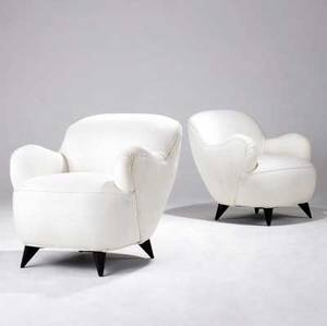Vladimir kagan pair of barrelshaped lounge chairs with woven white upholstery on ebonized legs 32 12 x 29 x 29