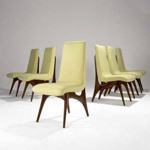 Vladimir kagan set of six sculpted walnut dining side chairs with green fabric upholstery 38 12 x 18 x 23