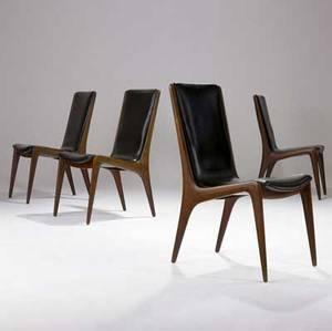 Vladimir kagan  kagan dreyfuss set of four sculpted walnut side chairs with black leather upholstery branded kagan dreyfuss new york 36 12 x 18 12 x 24 12