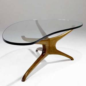 Vladimir kagan ralph pucci edition coffee table with sculpted walnut base and biomorphic plate glass top 16 14 x 58 x 28 34
