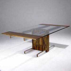 Vladimir kagan cubist extension dining table in macassar ebony with glass top and integrated leaf at either end complete with two removable 12 leaves kagan designs foil label 28 12 x 81 x 48