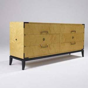 Tommi parzigner  parzinger originals sixdrawer maple chest with brass pulls on curved legs branded parzinger originals 32 12 x 70 x 18