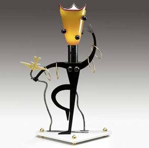 Dan dailey whimsical mixedmedia table lamp of figurative female form in metal blown glass and vitrolite stamped signature verso 31 12 x 20 x 9