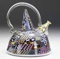 Richard marquis nonfunctional blown glass teapot with polychrome murrines in assorted motifs 1985 signed marquis 985 with copyright 7 14 x 6