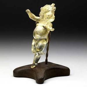 Dale chihuly clear blown glass putto with gold foil inclusions provenance gift of the artist 6 12 h