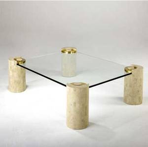 Karl Springer Coffee Table With Glass Top Over Brass Capped Tiled,  Cylindrical Bases. Made In Phillipines Tag.