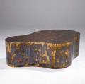 Karl springer freeform coffee table in solid brass with patinated finish on adjustable feet 17 14 x 56 12 x 36 12