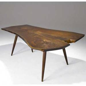 George nakashima walnut turnedleg dining table with singleboard freeform freeedge top provenance available marked with clients name 28 34 x 72 x 51
