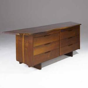 George nakashima exceptional walnut double chest with eight drawers and freeform freeedge top provenance available marked with clients name 33 x 84 x 22 34