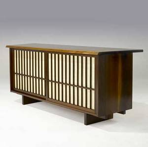 George nakashima walnut credenza with overhanging top over two grilled sliding doors backed in pandanus cloth provenance available 32 x 80 x 21 14
