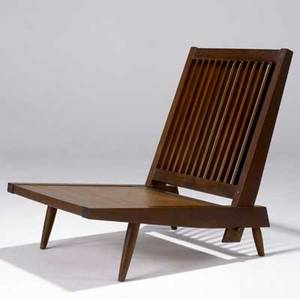 George nakashima slatback armless lounge chair in walnut provenance available 30 12 x 25 14 x 30 34