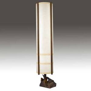 George nakashima kent hall floor lamp with cylindrical paper shade and rosewood uprights on freeform rosewood base provenance available 73 x 21
