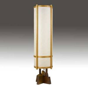 George nakashima kent hall floor lamp with cylindrical paper shade and holly uprights on rosewood crossbase provenance available 61 x 14