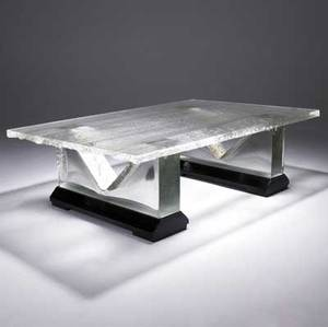 John lewis glacier coffee table in cast glass with textured top and white gold leaf accents to base 2003 18 12 x 59 12 x 39 12