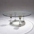 John lewis pink inversion table in clear and sandblasted cast glass 1996 29 x 72 dia