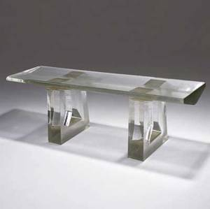 John lewis polished prism bench in cast glass with ribbed top and cutout base 2007 20 x 55 x 17
