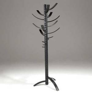 Bruce tippett  knoll  gavina renna coat rack in black enameled wood with fifteen adjustable arms approx 80 x 28