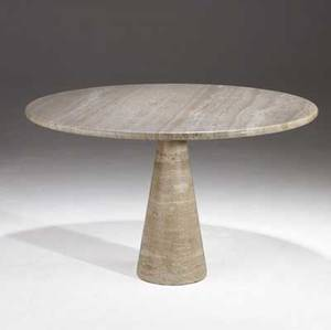 Angelo mangiarotti t70 travertine dining table with circular top over flared conical base 29 12 x 47 dia